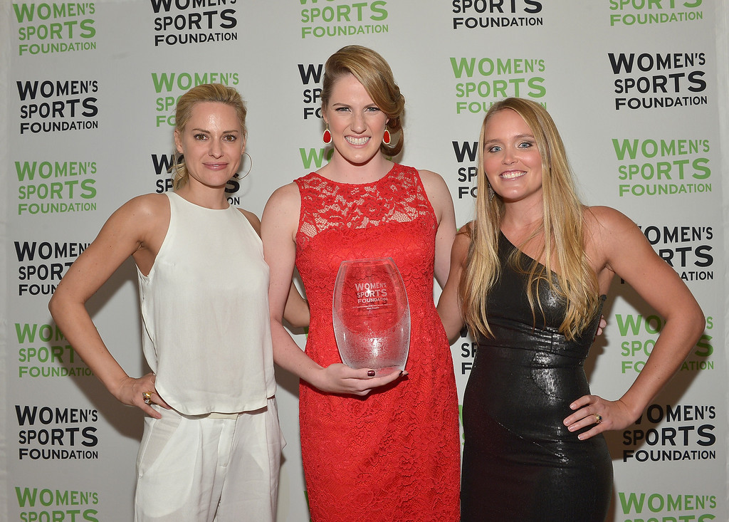 Description of . NEW YORK, NY - OCTOBER 16:  Aimee Mullins (L) and Grete Eliassen (R) pose with Olympic gold medalist Missy Franklin (C) with the Individual Sports Woman of the Year Award during onstage during the 34th annual Salute to Women In Sports Awards at Cipriani, Wall Street on October 16, 2013 in New York City.  (Photo by Mike Coppola/Getty Images for the Women's Sports Foundation)