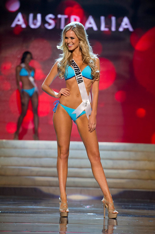 Description of . Miss Australia Renae Ayris competes in her Kooey Australia swimwear and Chinese Laundry shoes during the Swimsuit Competition of the 2012 Miss Universe Presentation Show at PH Live in Las Vegas, Nevada December 13, 2012. The 89 Miss Universe Contestants will compete for the Diamond Nexus Crown on December 19, 2012. REUTERS/Darren Decker/Miss Universe Organization/Handout