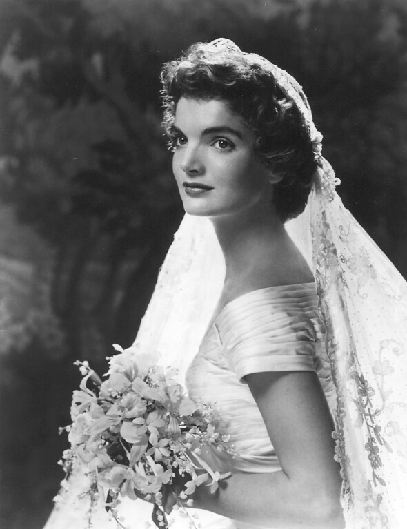 Description of . The formal wedding portrait of Jacqueline Bouvier Kennedy on Sept. 12, 1953. John F. Kennedy Presidential Library and Museum