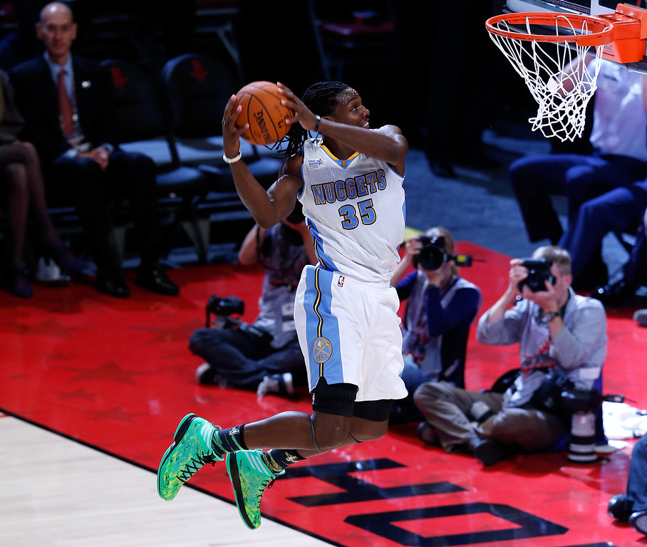 Description of . HOUSTON, TX - FEBRUARY 15:  Kenneth Faried #35 of the Denver Nuggets and Team Chuck dunks the ball in the second half in the BBVA Rising Stars Challenge 2013 part of the 2013 NBA All-Star Weekend at the Toyota Center on February 15, 2013 in Houston, Texas.  (Photo by Scott Halleran/Getty Images)
