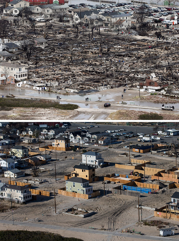 Description of . NEW YORK, NY - OCTOBER 31: (top)  The remains of burned homes are surrounded by water due to Superstorm Sandy in the Breezy Point neighborhood of the Queens borough of New York City October 31, 2012.  (Photo by Mario Tama/ Getty Images)  NEW YORK, NY - OCTOBER 21: (bottom) Newly built homes and vacant lots are shown in the Breezy Point neighborhood of the Queens borough of New York City October 21, 2013.  Hurricane Sandy made landfall on October 29, 2012 near Brigantine, New Jersey and affected 24 states from Florida to Maine and cost the country an estimated $65 billion.   (Photo by Andrew Burton/Getty Images)