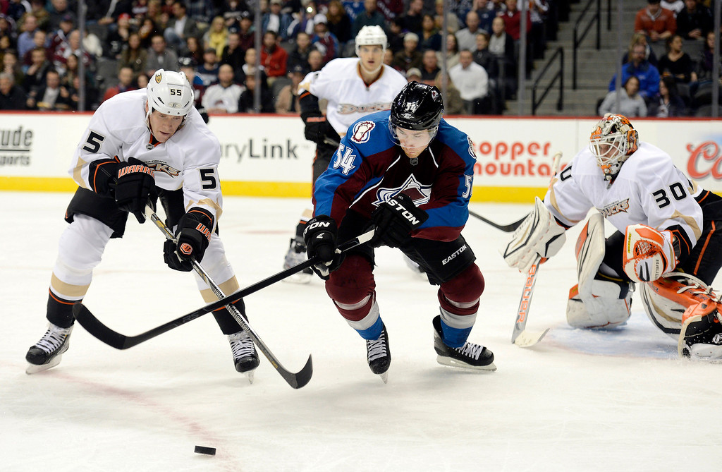 Description of . DENVER, CO. - FEBRUARY 06: Bryan Allen (55) of the Anaheim Ducks and David Jones (54) of the Colorado Avalanche skate after the puck during the first period February 6, 2013 at Pepsi Center. The Colorado Avalanche take on the Anaheim Ducks during NHL action. (Photo By John Leyba / The Denver Post)