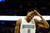 Denver Nuggets shooting guard Andre Iguodala (9) rubs his head against the Los Angeles Lakers during the first half at the Pepsi Center on Wednesday, December 26, 2012. AAron Ontiveroz, The Denver Post