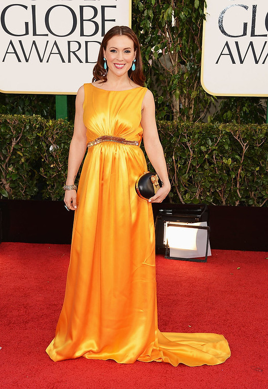 Description of . Actress Alyssa Milano arrives at the 70th Annual Golden Globe Awards held at The Beverly Hilton Hotel on January 13, 2013 in Beverly Hills, California.  (Photo by Jason Merritt/Getty Images)