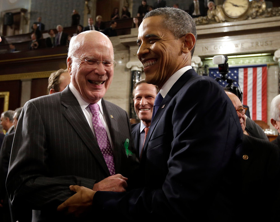 Description of . Sen. Patrick Leahy, D-Vt. greets President Barack Obama after the president gave his State of the Union address during a joint session of Congress on Capitol Hill in Washington, Tuesday Feb. 12, 2013. (AP Photo/Charles Dharapak, Pool)