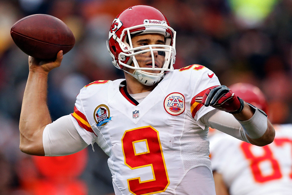 . Kansas City Chiefs quarterback Brady Quinn passes against the Cleveland Browns in the third quarter of an NFL football game in Cleveland, Sunday, Dec. 9, 2012. (AP Photo/Rick Osentoski)