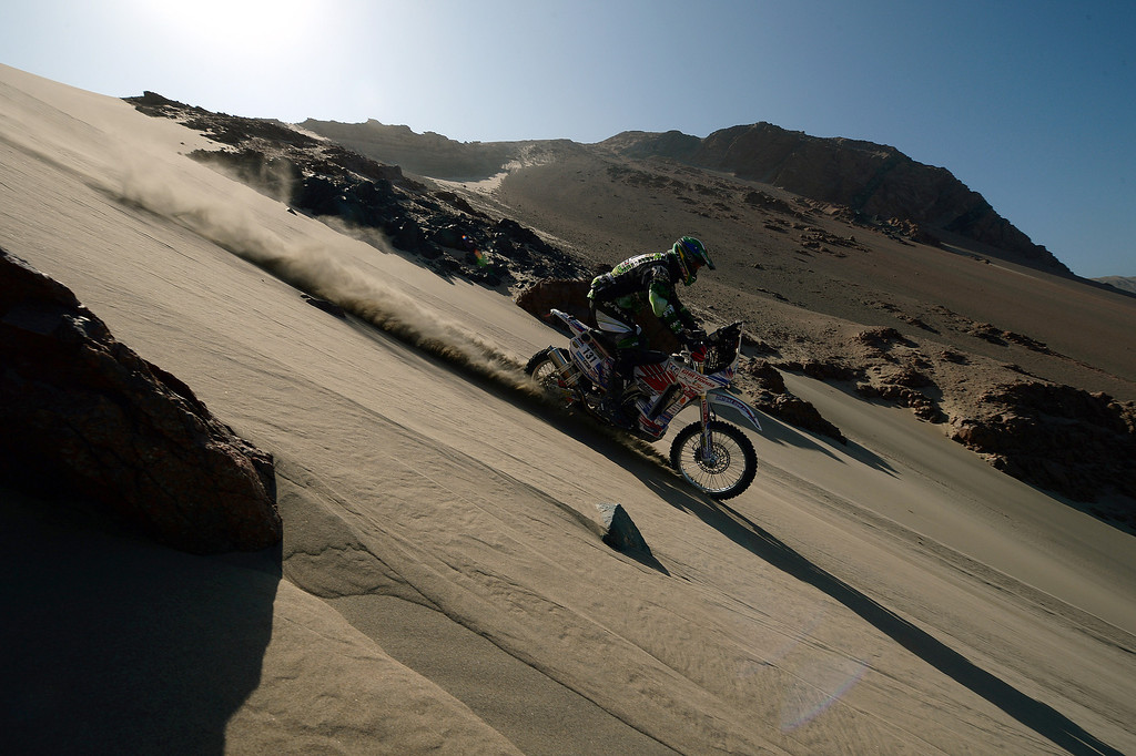 Description of . Australian Rodney Fagotter competes during Stage 3 of the Dakar Rally 2013 between Pisco and Nazca, Peru, on January 7, 2013. The rally will take place in Peru, Argentina and Chile from January 5-20.  FRANCK FIFE/AFP/Getty Images
