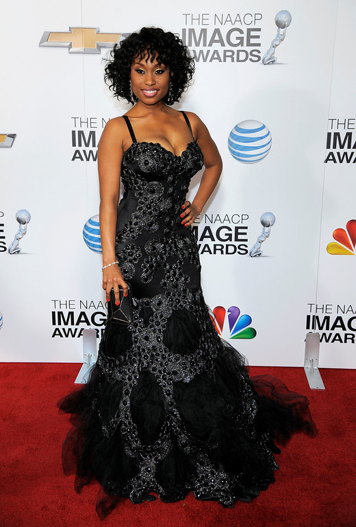 Description of . Angell Conwell arrives at the 44th Annual NAACP Image Awards at the Shrine Auditorium in Los Angeles on Friday, Feb. 1, 2013. (Photo by Chris Pizzello/Invision/AP)