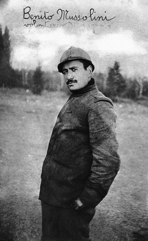 Description of . Benito Mussolini pictured as a soldier in World War I in 1914. He rose from the ranks of a corporal to the leader of Fascist Italy. (AP Photo)