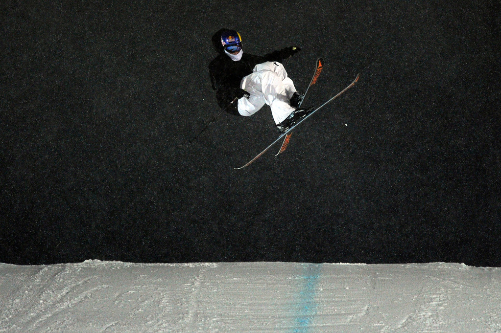 Description of . ASPEN, CO - January 26: Elias Ambühl prepares to land after a trick during the men's Ski Big Air Final at Winter X Games Aspen 2013 at Buttermilk Mountain on Jan. 26, 2013, in Aspen, Colorado. Ambühl finished third overall. (Photo by Daniel Petty/The Denver Post)