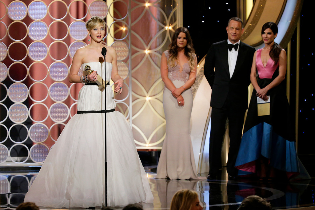 ". 2014 Academy Award Nominee for Best Actress in a Supporting Role: Jennifer Lawrence in ""American Hustle.\"" (AP Photo/NBC, Paul Drinkwater)"