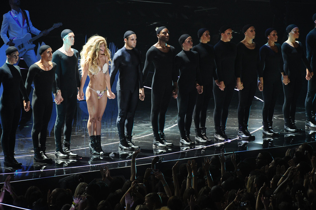". Lady Gaga performs ""Applause\"" at the MTV Video Music Awards on Sunday, Aug. 25, 2013, at the Barclays Center in the Brooklyn borough of New York. (Photo by Charles Sykes/Invision/AP)"