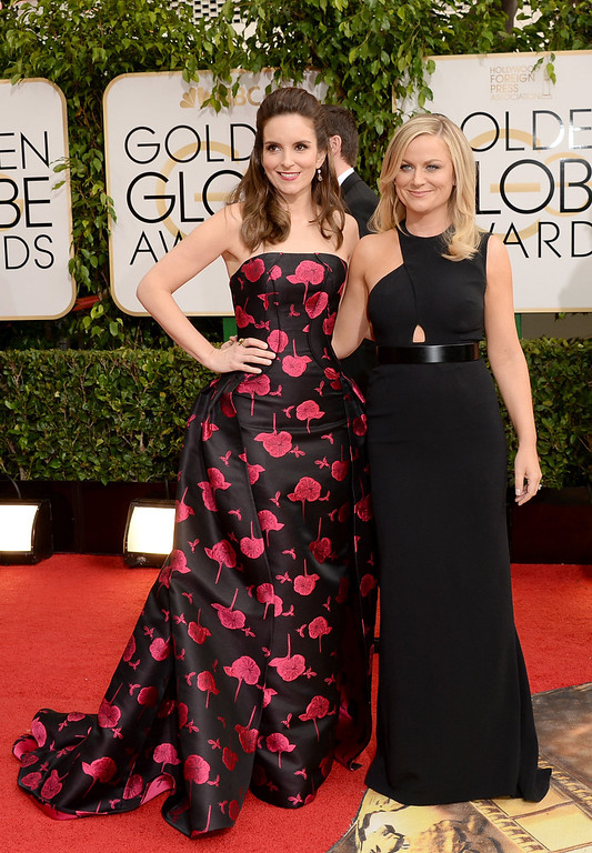 Description of . Actresses Tina Fey (L) and Amy Poehler attend the 71st Annual Golden Globe Awards held at The Beverly Hilton Hotel on January 12, 2014 in Beverly Hills, California.  (Photo by Jason Merritt/Getty Images)