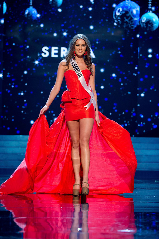 Description of . Miss Serbia 2012 Branislava Mandic competes in an evening gown of her choice during the Evening Gown Competition of the 2012 Miss Universe Presentation Show in Las Vegas, Nevada, December 13, 2012. The Miss Universe 2012 pageant will be held on December 19 at the Planet Hollywood Resort and Casino in Las Vegas. REUTERS/Darren Decker/Miss Universe Organization L.P/Handout