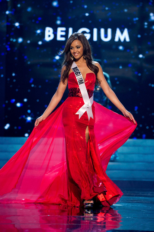 Description of . Miss Belgium 2012 Laura Beyne competes in an evening gown of her choice during the Evening Gown Competition of the 2012 Miss Universe Presentation Show in Las Vegas, Nevada, December 13, 2012. The Miss Universe 2012 pageant will be held on December 19 at the Planet Hollywood Resort and Casino in Las Vegas. REUTERS/Darren Decker/Miss Universe Organization L.P/Handout