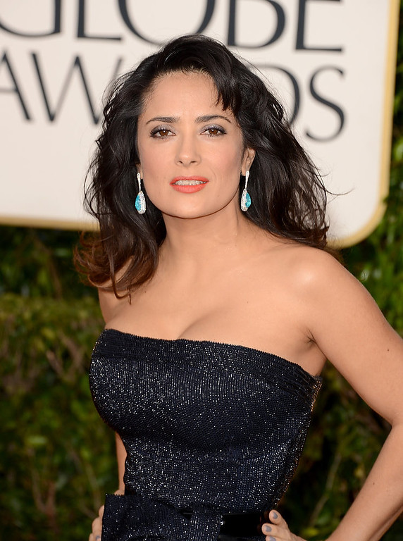 Description of . Actress Salma Hayek arrives at the 70th Annual Golden Globe Awards held at The Beverly Hilton Hotel on January 13, 2013 in Beverly Hills, California.  (Photo by Jason Merritt/Getty Images)