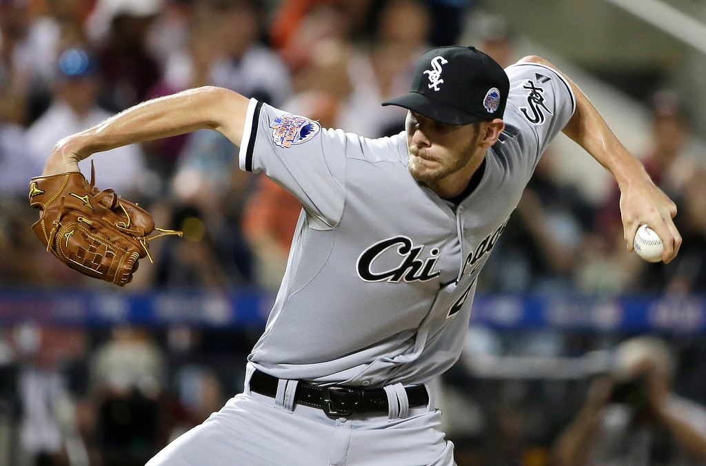 Description of . American Leagueís Chris Sale, of the Chicago White Sox, pitches during the second inning of the MLB All-Star baseball game, on Tuesday, July 16, 2013, in New York. (AP Photo/Matt Slocum)