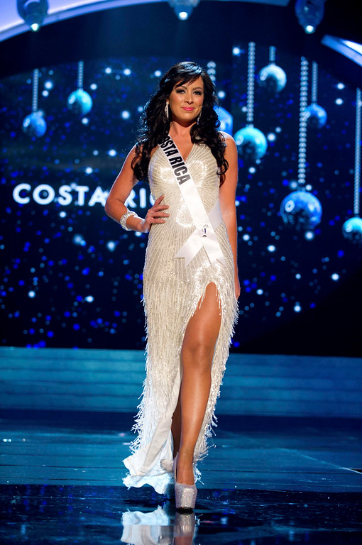 Description of . Miss Costa Rica 2012 Nazareth Cascante competes in an evening gown of her choice during the Evening Gown Competition of the 2012 Miss Universe Presentation Show in Las Vegas, Nevada, December 13, 2012. The Miss Universe 2012 pageant will be held on December 19 at the Planet Hollywood Resort and Casino in Las Vegas. REUTERS/Darren Decker/Miss Universe Organization L.P/Handout