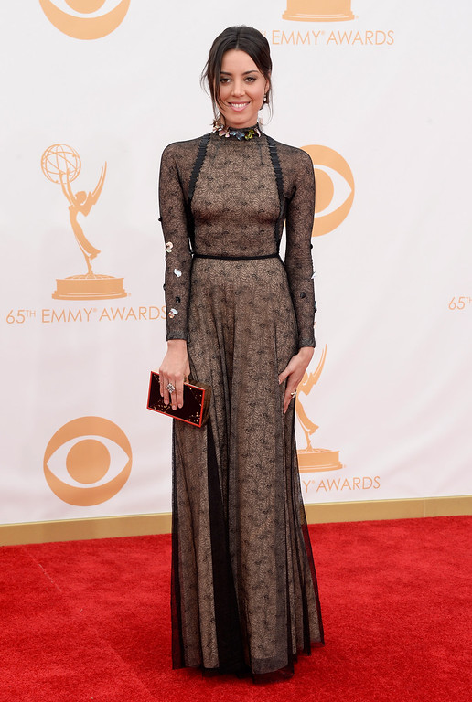 Description of . Actress Aubrey Plaza arrives at the 65th Annual Primetime Emmy Awards held at Nokia Theatre L.A. Live on September 22, 2013 in Los Angeles, California.  (Photo by Frazer Harrison/Getty Images)