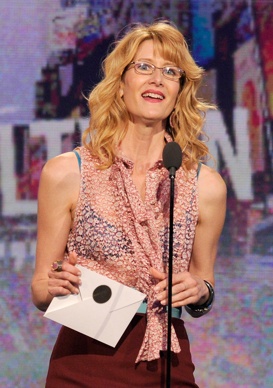 Description of . Actress Laura Dern speaks onstage at the Independent Spirit Awards on Saturday, Feb. 23, 2013, in Santa Monica, Calif. (Photo by Chris Pizzello/Invision/AP)