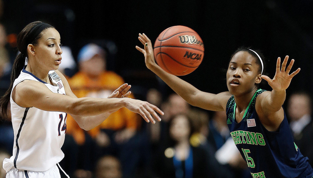 Description of . Connecticut guard Bria Hartley (14) passes the ball as Notre Dame guard Lindsay Allen (15) looks on during the second half of the championship game in the Final Four of the NCAA women's college basketball tournament, Tuesday, April 8, 2014, in Nashville, Tenn. (AP Photo/Mark Humphrey)