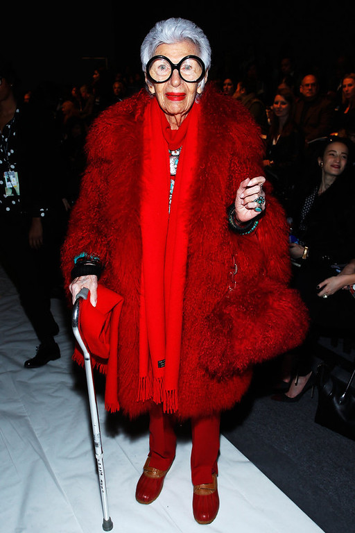 Description of . Iris Apfel attends the Joanna Mastroianni Fall 2013 fashion show during Mercedes-Benz Fashion Week at The Studio at Lincoln Center on February 10, 2013 in New York City.  (Photo by Joe Kohen/Getty Images for Joanna Mastroianni)