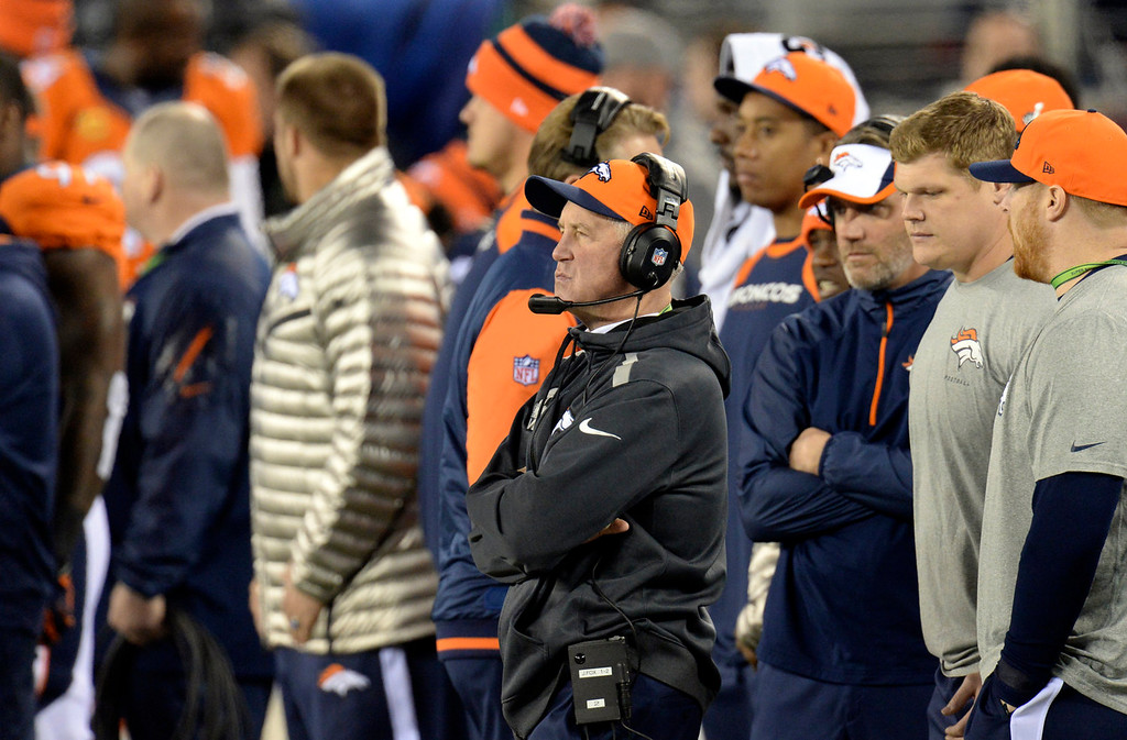 Description of . Denver Broncos head coach John Fox on the sideline at the start of the game.  The Denver Broncos vs the Seattle Seahawks in Super Bowl XLVIII at MetLife Stadium in East Rutherford, New Jersey Sunday, February 2, 2014. (Photo by Hyoung Chang//The Denver Post)