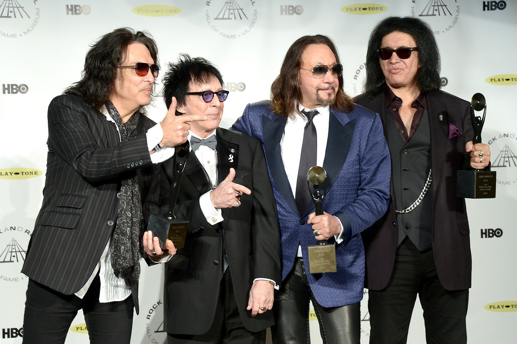 Description of . (L-R) Inductees Paul Stanley, Peter Criss, Gene Simmons and Ace Frehley of KISS attend the 29th Annual Rock And Roll Hall Of Fame Induction Ceremony at Barclays Center of Brooklyn on April 10, 2014 in New York City.  (Photo by Michael Loccisano/Getty Images)