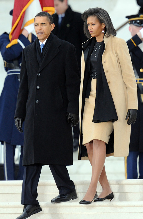 Description of . US President-elect Barack Obama and his wife Michelle arrive at the 'We Are One