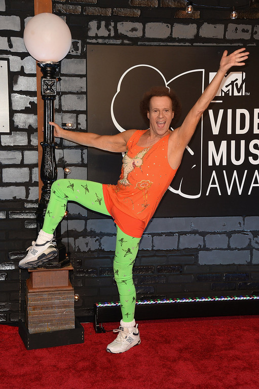 Description of . TV Personality Richard Simmons attends the 2013 MTV Video Music Awards at the Barclays Center on August 25, 2013 in the Brooklyn borough of New York City.  (Photo by Jamie McCarthy/Getty Images for MTV)