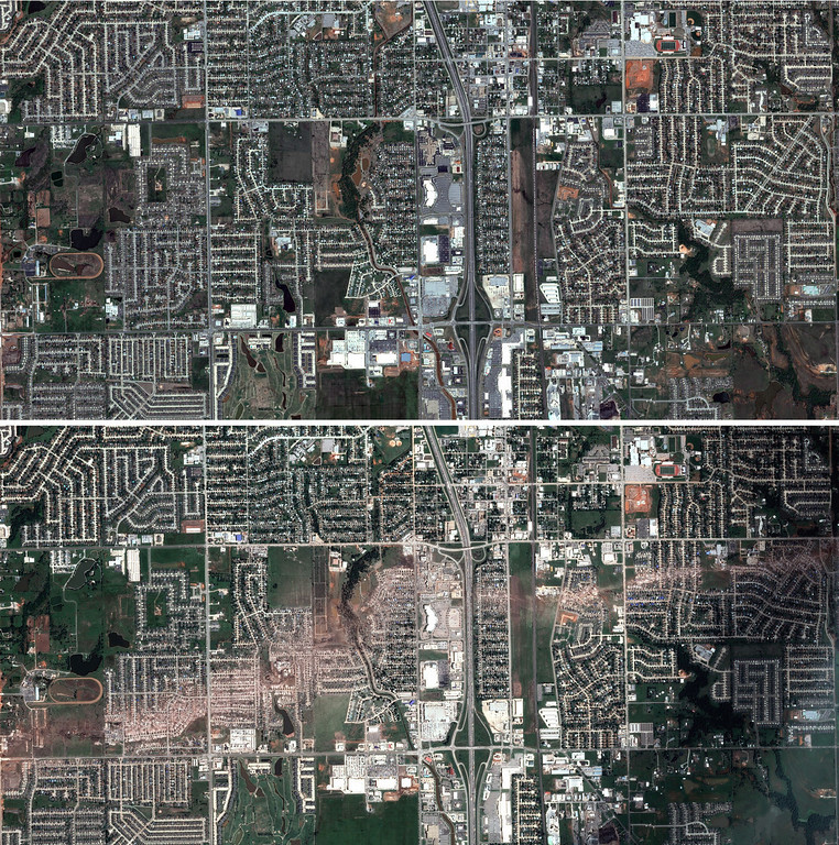 . This handout photo taken and released by Astrium on May 23, 2013, shows two satellite views of Moore, Oklahoma, before (Top) and after (Bottom) the passage of a powerful tornado, classified as an EF5, which passed through the town on May 20, destroying homes, schools and businesses and killing 24 people including children. The twister flattened block after block of homes as it struck mid-afternoon, hurling cars through the air, downing power lines and setting off localized fires in a 45-minute rampage. AFP PHOTO / ASTRIUM SERVICES 2013