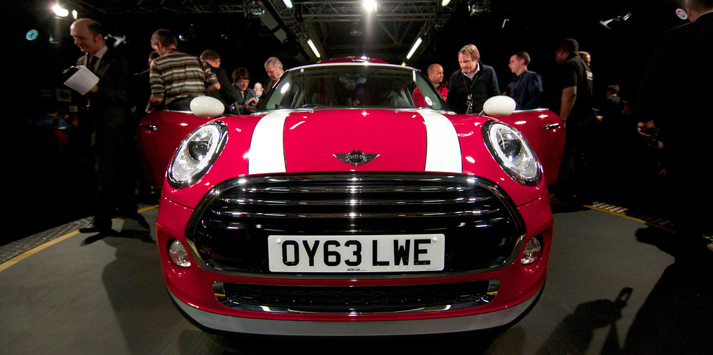 Description of . The new Mini Cooper car is pictured during its official unveiling at BMW's plant at Cowley in Oxford, central England, on November 18, 2013. Car giant BMW, which has been manufacturing the Mini since 2001, has finally taken the wraps off the  new Mini that will be available in the UK in Spring 2014. ANDREW COWIE/AFP/Getty Images