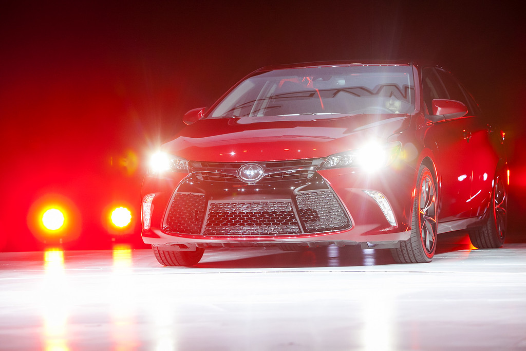 Description of . The new 2015 Camry is unveiled during a media preview of the 2014 New York International Auto Show April 16, 2014 in New York City. The show opens with a sneak preview to the public April 18 and runs through April 27.  (Photo by Eric Thayer/Getty Images)