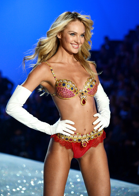 Description of . Model Candice Swanepoel walks the runway wearing the $10 million Royal Fantasy Bra during the 2013 Victoria's Secret Fashion Show at the 69th Regiment Armory on Wednesday, Nov. 13, 2013 in New York. (Photo by Evan Agostini/Invision/AP)