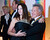 Kennedy Center Honoree Dustin Hoffman arrives with his wife, Lisa, at the Kennedy Center for the Performing Arts for the 2012 Kennedy Center Honors Performance and Gala Sunday, Dec. 2, 2012 at the State Department in Washington. (AP Photo/Kevin Wolf)