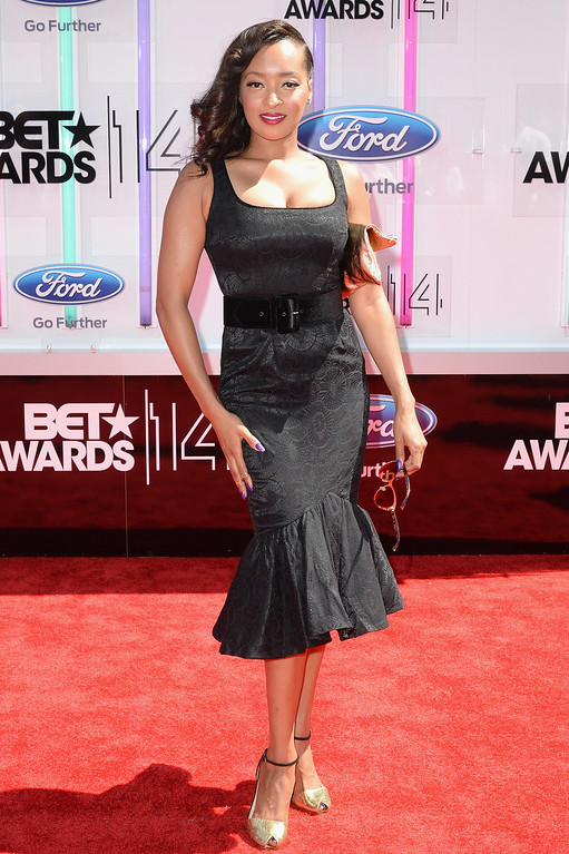 Description of . Actress Jennia Fredrique attends the BET AWARDS '14 at Nokia Theatre L.A. LIVE on June 29, 2014 in Los Angeles, California.  (Photo by Earl Gibson III/Getty Images for BET)