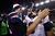 Tom Brady #12 of the New England Patriots greets Matt Schaub #8 of the Houston Texans after the 2013 AFC Divisional Playoffs game at Gillette Stadium on January 13, 2013 in Foxboro, Massachusetts.  (Photo by Elsa/Getty Images)