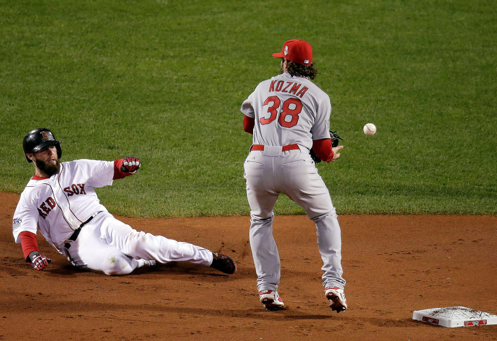 Description of . St. Louis Cardinals' Pete Kozma can't handle a throw as Boston Red Sox's Dustin Pedroia slides into second during the first inning of Game 1 of baseball's World Series Wednesday, Oct. 23, 2013, in Boston. (AP Photo/Charlie Riedel)