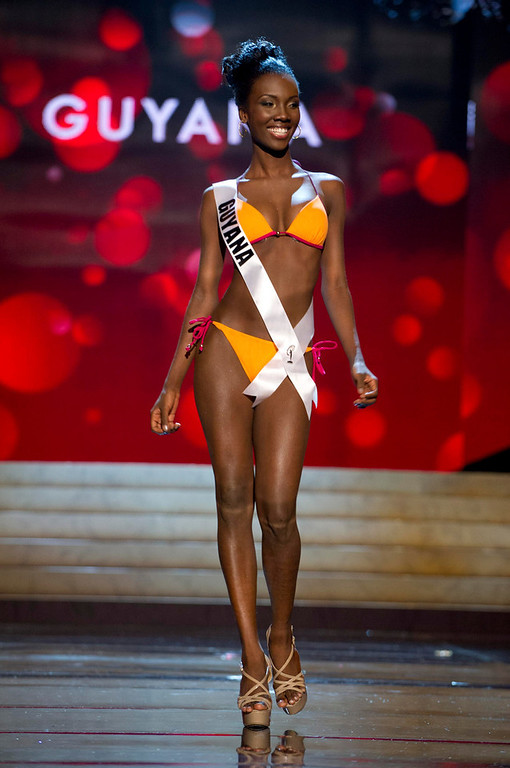 Description of . Miss Guyana 2012 Ruqayyah Boyer competes during the Swimsuit Competition of the 2012 Miss Universe Presentation Show at PH Live in Las Vegas, Nevada December 13, 2012. The Miss Universe 2012 pageant will be held on December 19 at the Planet Hollywood Resort and Casino in Las Vegas. REUTERS/Darren Decker/Miss Universe Organization L.P/Handout