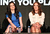 Actresses Lara Pulver (L) and Laura Haddock speak onstage at the 