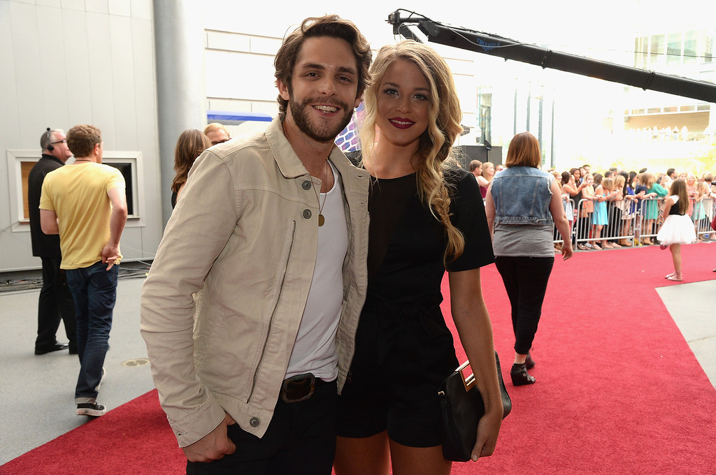 Description of . Thomas Rhett and Lauren Gregory attend the 2014 CMT Music Awards at Bridgestone Arena on June 4, 2014 in Nashville, Tennessee.  (Photo by Rick Diamond/Getty Images for CMT)