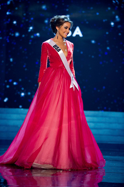Description of . Miss USA 2012 Olivia Culpo competes in an evening gown of her choice during the Evening Gown Competition of the 2012 Miss Universe Presentation Show in Las Vegas, Nevada, December 13, 2012. The Miss Universe 2012 pageant will be held on December 19 at the Planet Hollywood Resort and Casino in Las Vegas. REUTERS/Darren Decker/Miss Universe Organization L.P/Handout