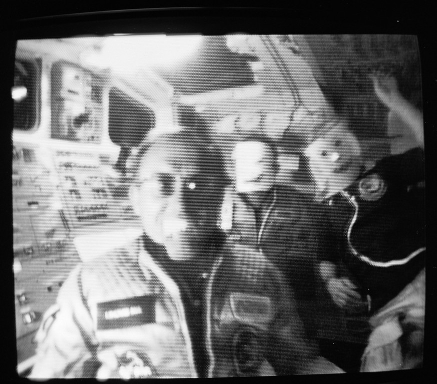 Description of . Space shuttle Challenger crew members show off Halloween disguises worn Nov. 1, 1985.  From left to right:  German payload specialist Ernst Messerschmidt; pilot Steven Nagel; and mission specialist James Buchli.  (AP Photo/NASA-TV)