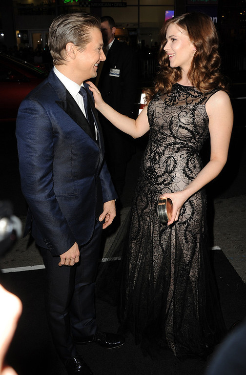 Description of . Actors Jeremy Renner and Pihla Viitala arrive for the Los Angeles premiere of Paramount  Pictures'