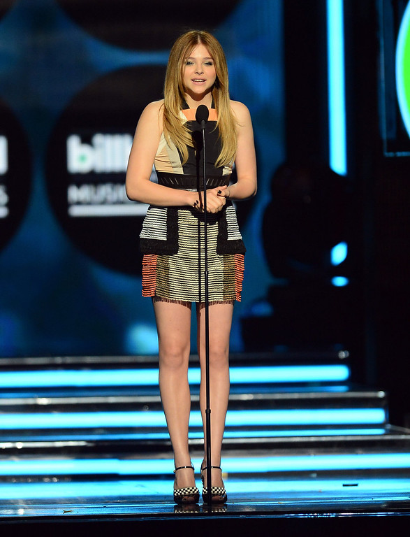 . Actress Chloe Grace Moretz speaks onstage during the 2013 Billboard Music Awards at the MGM Grand Garden Arena on May 19, 2013 in Las Vegas, Nevada.  (Photo by Ethan Miller/Getty Images)