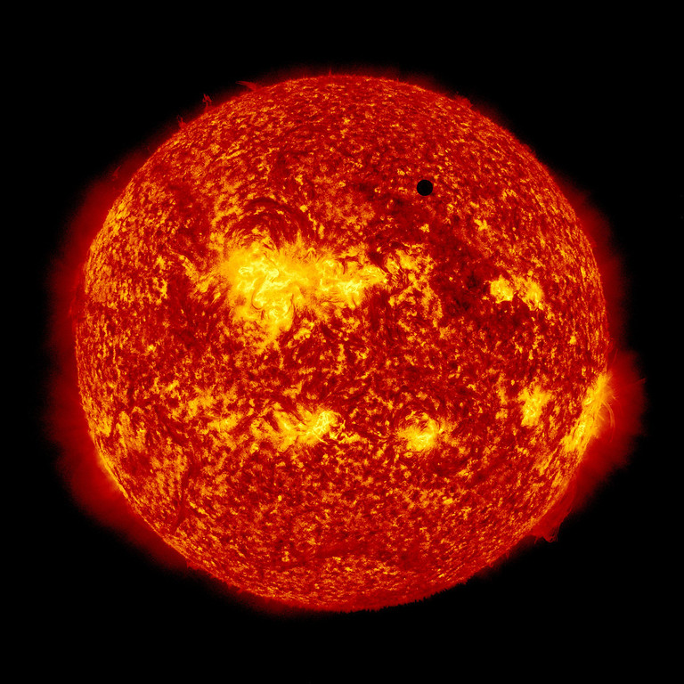 Description of . In this handout image provided by NASA, the SDO satellite captures a ultra-high definition image of the Transit of Venus across the face of the sun at on June 5, 2012 from space. The last transit was in 2004 and the next pair of events will not happen again until the year 2117 and 2125. (Photo by SDO/NASA via Getty Images)