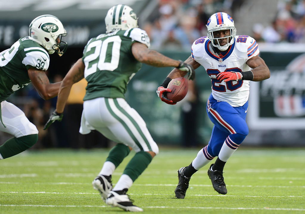 Description of . Running back C.J. Spiller #28 of the Buffalo Bills carries the ball in the 1st half of the Jets game against the Buffalo Bills at MetLife Stadium on September 22, 2013 in East Rutherford, New Jersey. (Photo by Ron Antonelli/Getty Images)