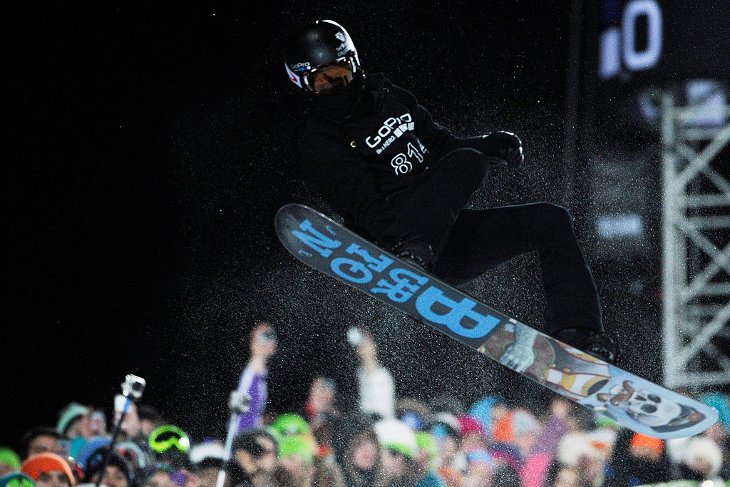 Description of . ASPEN, CO - JANUARY 27: Shaun White makes a hit during the men's snowboard superpipe final. X Games Aspen Buttermilk Mountain Aspen January 27, 2013. (Photo By Daniel Petty/The Denver Post)