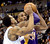 Los Angeles Lakers Kobe Bryant (R) is pressured by Denver Nuggets Andre Iguodala (L) during their NBA basketball game in Denver, Colorado February 25, 2013.   REUTERS/Mark Leffingwell