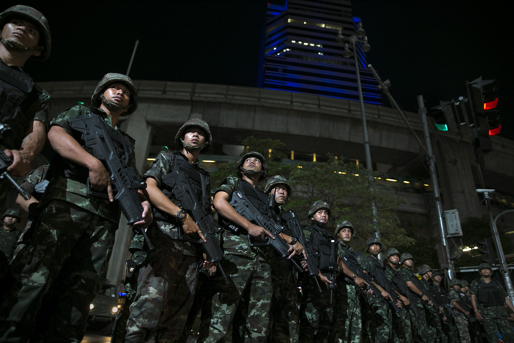 . Thai military take over the streets asserting control after an anti-coup protest May 23, 2014 in Bangkok, Thailand. The Army chief announced yesterday that the armed forces were seizing power in a non-violent coup.  (Photo by Paula Bronstein/Getty Images)